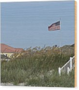 Seaside Patriotism Wood Print