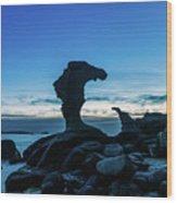 Seaside Rock Formations At Daybreak Wood Print