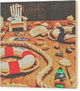 Seaside Ropes And Nautical Decks Wood Print