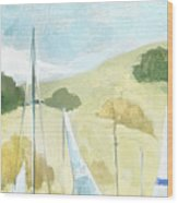 Seaside Sails Wood Print