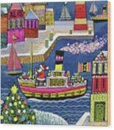 Seaside Santa Wood Print