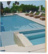 Seaside Swimming Pool As A Silk Screen Image Wood Print