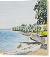 Seaside Town Wood Print