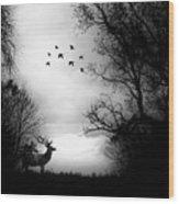 Seasons End Deer Geese Wood Print