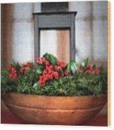 Seasons Greetings Christmas Centerpiece Wood Print