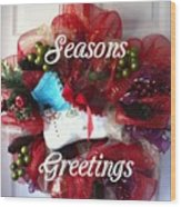 Seasons Greetings Old Skate Wood Print