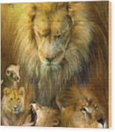 Seasons Of The Lion Wood Print by Carol Cavalaris