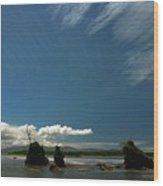 Seastacks And Clouds Wood Print