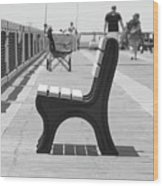 Seat On The Pier Wood Print