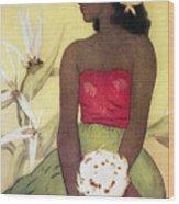 Seated Hula Dancer Wood Print