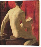 Seated Male Model Wood Print by William Etty