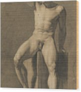 Seated Male Nude Wood Print