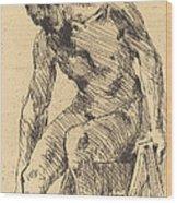 Seated Male Nude (sitzender M?nnlicher Akt) Wood Print