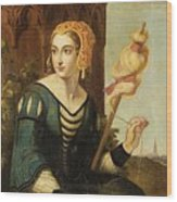Seated Noble Lady With Distaff Wood Print