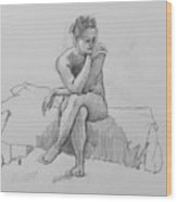 Seated Nude 2 Wood Print