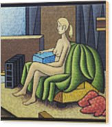 Seated Nude With Red Robe-framed Wood Print