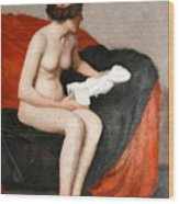 Seated Nude With Sculpture Wood Print
