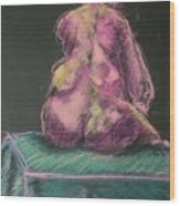 Seated Pink Nude Wood Print