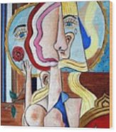 Seated Woman Wood Print