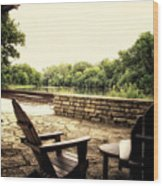 Seating For Two By The Creek Wood Print