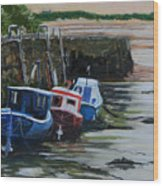 Seaton Sluice Harbour At Low Tide. Wood Print