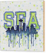 Seattle Watercolor 12th Man Art Painting Space Needle Go Seahawks Wood Print