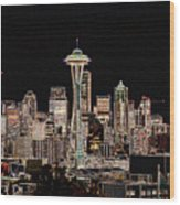 Seattle A Glow Wood Print