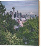 Seattle And Mt. Rainier Vertical Wood Print
