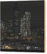 Seattle At Night Wood Print