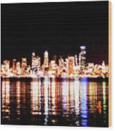 Seattle At Night - From Alki Beach Wood Print
