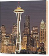 Seattle Full Moon Wood Print