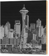 Seattle Black And White Wood Print