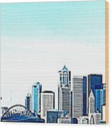 Seattle Blue Wood Print