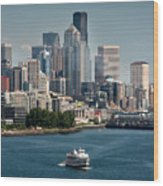 Seattle By Ferry Wood Print