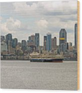 Seattle City Skyline Along Elliott Bay Wood Print