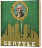 Seattle City Skyline State Flag Of Washington Art Poster Series 017 Wood Print
