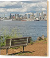 Seattle City Skyline View From Alki Beach Wood Print