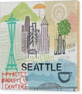 Seattle Cityscape- Art By Linda Woods Wood Print
