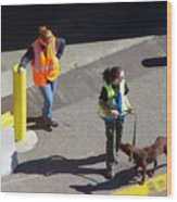 Seattle Dock Dog Workers 1 Wood Print