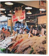 Seattle Fish Throw Pike St Market Wood Print