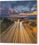 Seattle Freeway Light Trails Wood Print