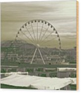 Seattle Great Wheel And Pier 57 Wood Print