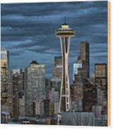 Seattle Night Wood Print