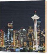 Seattle Night Sky Wood Print