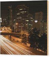 Seattle Night Time Wood Print