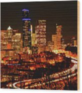 Seattle Night Traffic Wood Print