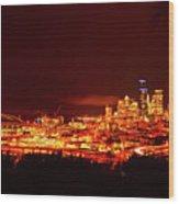 Seattle Night Traffic Too Wood Print