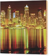 Seattle Panorama Reflection In Elliot Bay Wood Print by Tim Rayburn