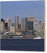 Seattle Panoramic Wood Print by Adam Romanowicz