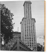 Seattle - Pioneer Square Tower Bw Wood Print